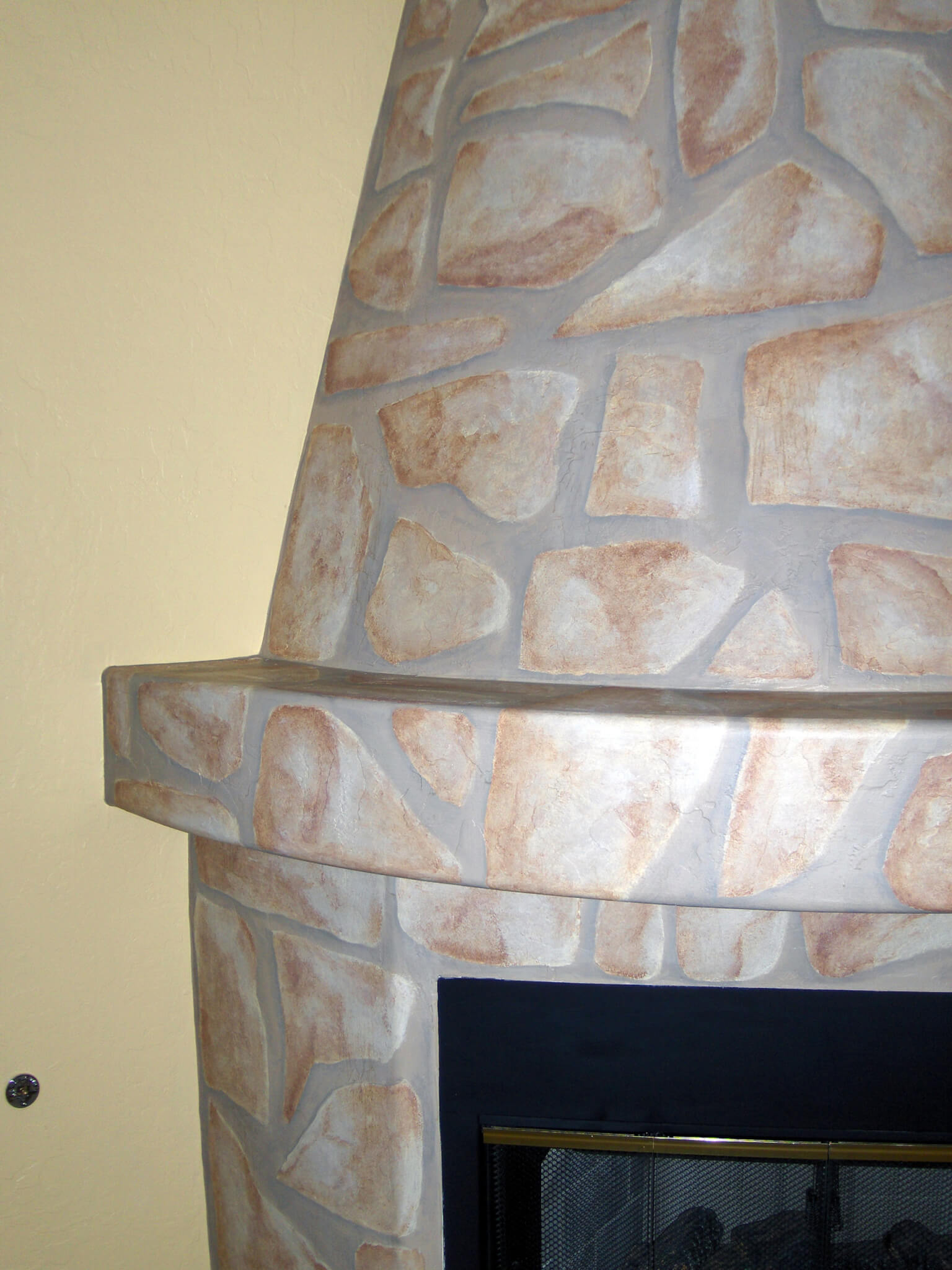 Faux stone fireplace houseart custom painting for How to paint faux marble wall