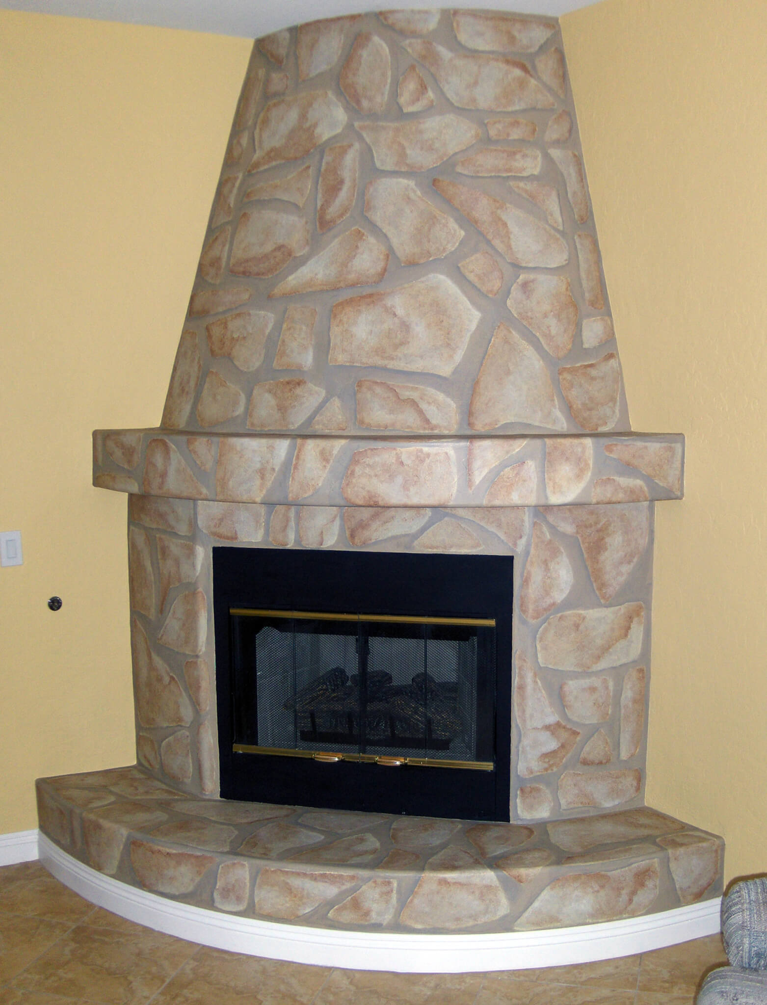Faux Stone Fireplace HouseArt Custom Painting.