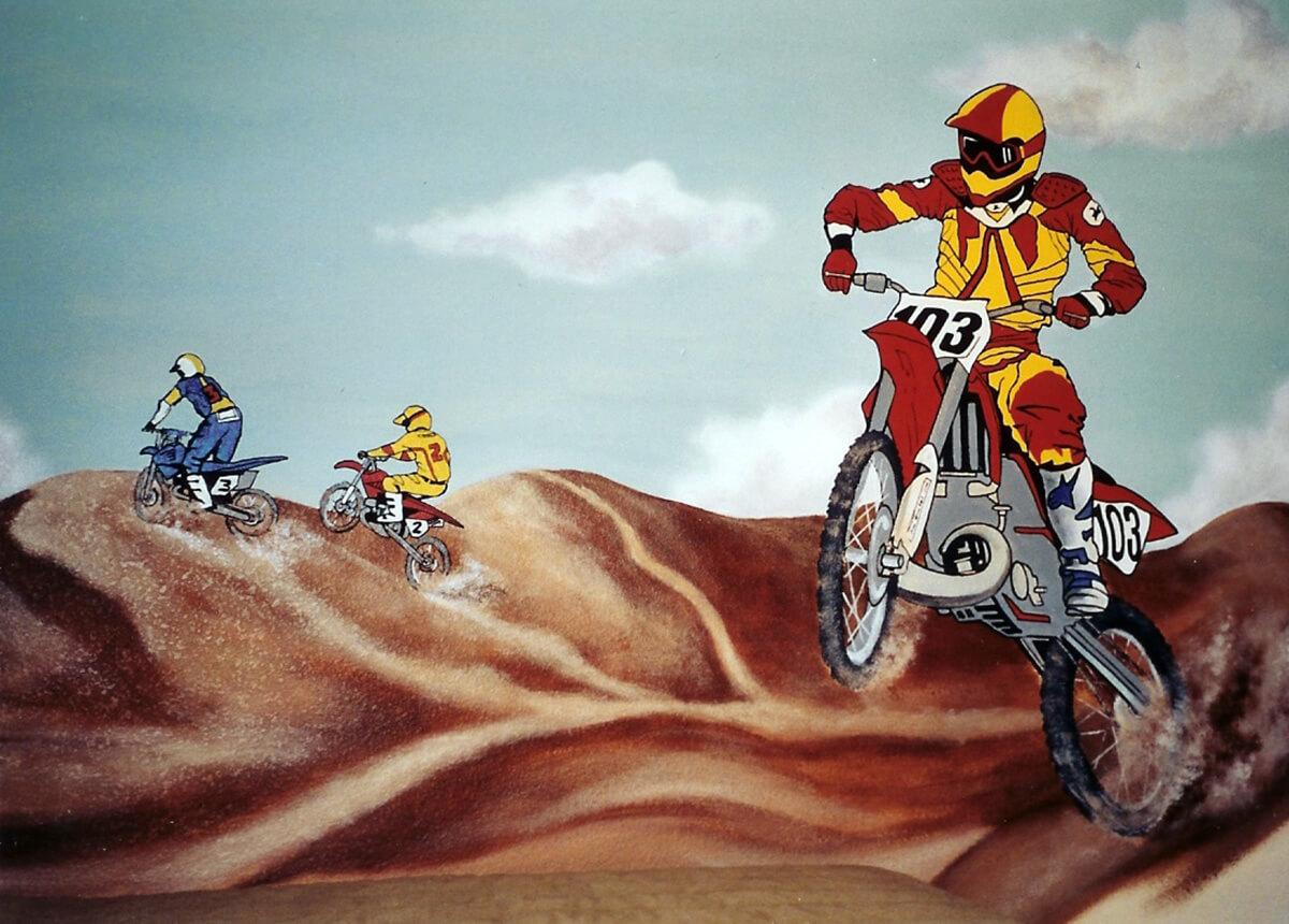 Dirtbike Racers Sand Dunes Painted Mural Moto X Houseart Custom