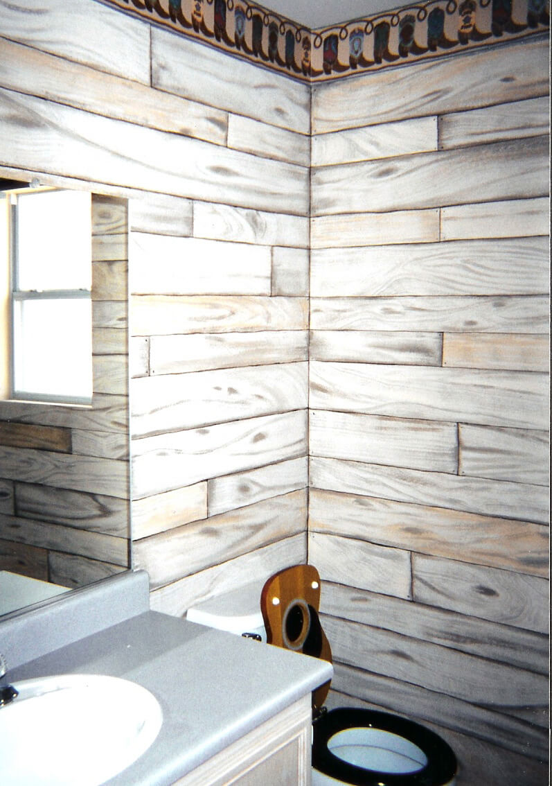 Wooden Boards Painted on Bathroom Walls - HouseArt Custom Painting