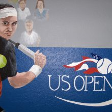 tennis us open mural custom wall paint 1 closeup