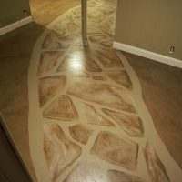 painted stone patch on concrete basement floor 1